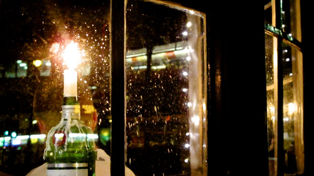 Pub Window with Candle